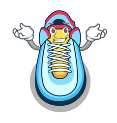 Grinning cartoon pair of casual sneakers vector