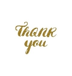 Hand drawn ink thank you card gold glitter vector image