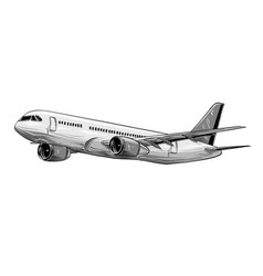 Hand drawn sketch aircraft in gray color vector