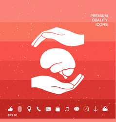 Hands holding brain - protection symbol vector