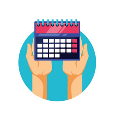hands with calendar reminder isolated icon vector image