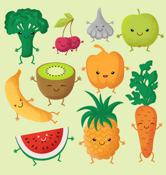 Happy cartoon fruits and garden vegetables with vector