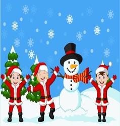 Happy children cartoon in Santa Costume vector