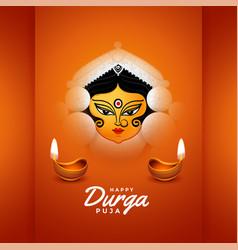 Happy durga pooja festival card with diya design vector