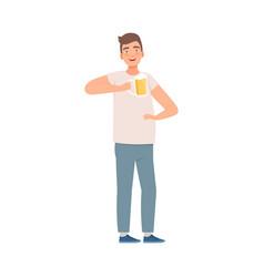 Happy man drinking beer bad habit vector