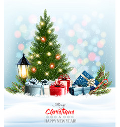 holiday christmas and new year background with a vector image