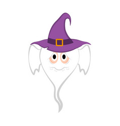 isolated cute halloween witch ghost vector image