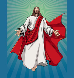 Jesus open arms vector