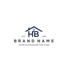 Letter hb home logo design vector