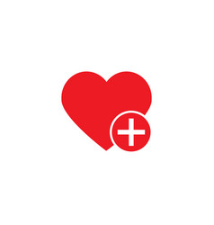 like love icon with plus add icon vector image