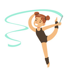 little girl doing gymnastics exercise in class vector image