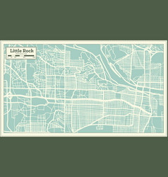 Little rock usa city map in retro style outline vector