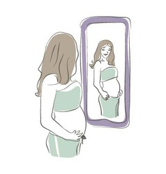 Looking at Mirror vector image