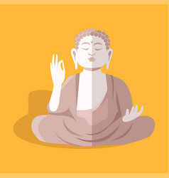 Magnificent statue of sitting buddha shakyamuni vector