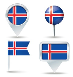 Map pins with flag of Iceland vector image