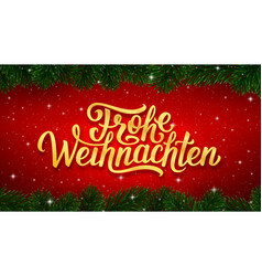 Merry christmas calligraphy text in german vector
