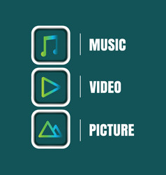 multimedia icon sets vector image