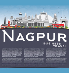 Nagpur skyline with gray buildings blue sky and vector