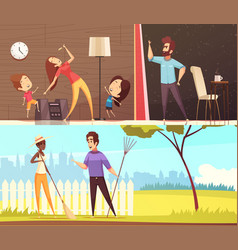 Neighbors horizontal banners vector