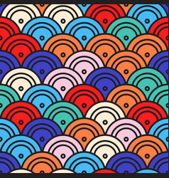 pattern with half circles in japanese style vector image