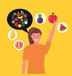 people healthy food vector image