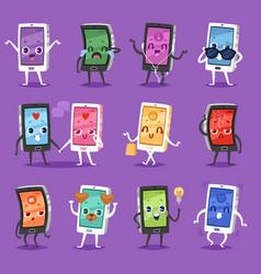 phone emoji gadget character smartphone or vector image