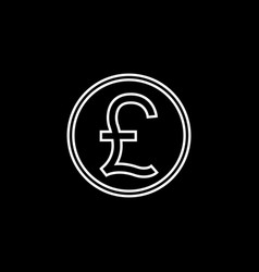 Pound sterling coin line icon finance business vector