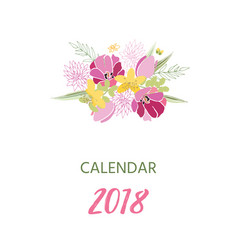 Printable 2018 calendar with pretty colorful vector