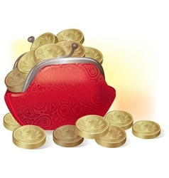 Purse full of coins vector