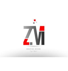 Red grey alphabet letter zm z m logo combination vector
