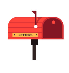 red mail box with golden plate for letters vector image