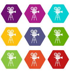 retro film projector icon set color hexahedron vector image