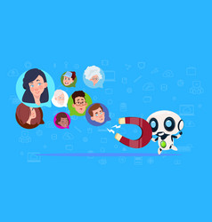 robot hold magnet mix race chat bubblesartificial vector image