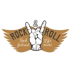 Rock festival Human hand with rock and roll sign vector