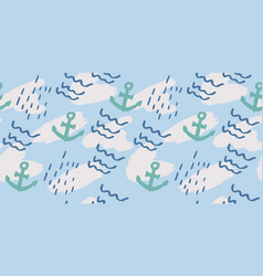 Seamless pattern with hand drawn ocean wave vector