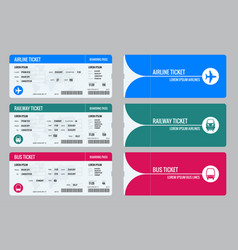 Set of tickets airplane bus and train travel vector