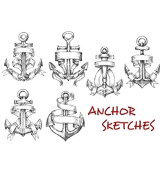 Sketches of old heraldic anchors with ribbons vector image