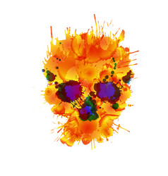 skull made colorful splashes vector image