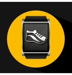 Smart watch concept shoe run social media vector