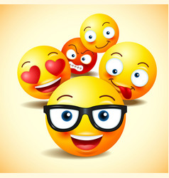 smiley face icons or yellow emoticons vector image