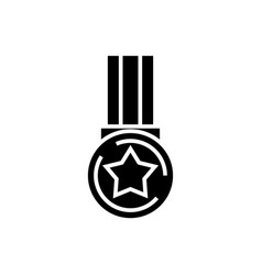star medal icon black sign vector image