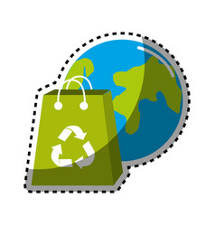 Sticker planet and bag to recycle environment icon vector