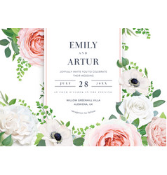 Stylish floral wedding invite card with flowers vector