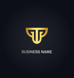 T initial business company gold logo vector