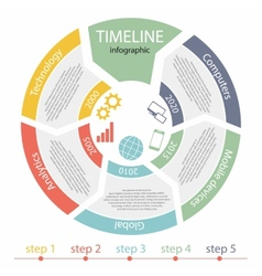 Timeline infographic 5 steps vector