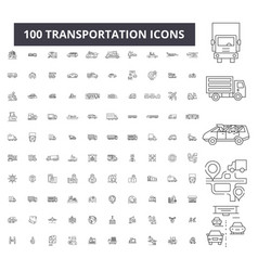 transportation editable line icons 100 set vector image