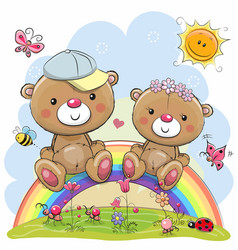 Two teddy bears are sitting on the rainbow vector