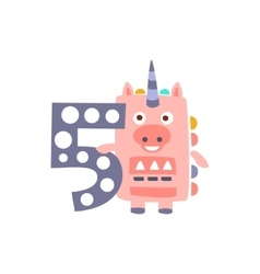 Unicorn Standing Next To Number Five Stylized vector