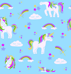 unicorns on the blue seamless pattern vector image