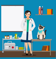 veterinarian and cat in doctor office vector image